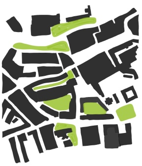 I blocked out the green spaces surrounding the site and thought it was appropriate to propose an abundance of greenery on our site to create a green belt spreading from one side of the site to the other.