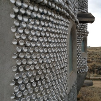 An exterior made entirely from tin cans