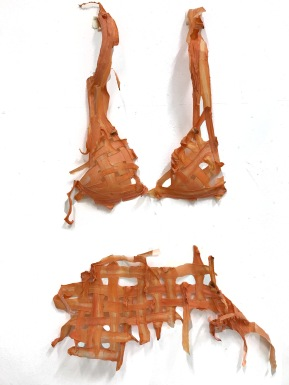 'Lets get to the root of the problem' As the carrot lost it's moisture the cross hatching became fixed together. It became quite brittle and developed into more of a carrot bikini, than a corset. This whole piece could then completely biodegrade.