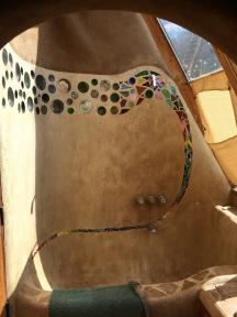 Shower room made from adobe plaster