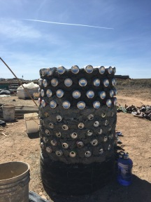 A turret made from cans.