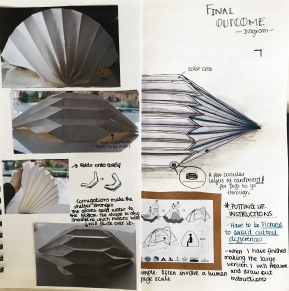 Experimenting with a fishbone fold and it's potential for use with emergency shelter.