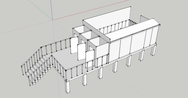 A quick sketch up model to show how we proposed to deal with the underused flood plane area of the camp.