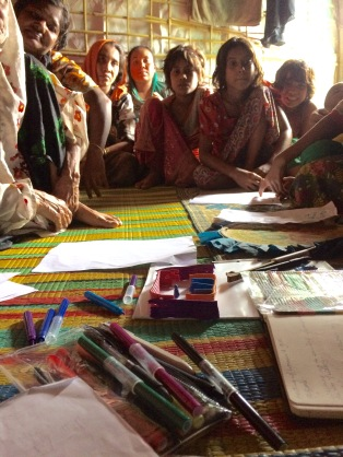 Meeting the women and girls and having an active discussion with them with drawing and modeling to help establish and clarify what we were all discussing.