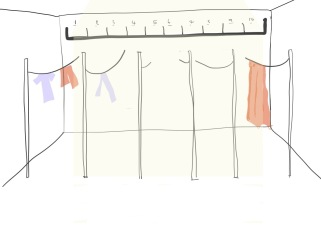 In bathing facilities we established that women wouldn't mind drying their sanitary products in an all female drying/washing space shared by 10 other familes they knew. So we decided it would be appropriate to suggest a high self where each women has their allocated shelf they can store their sanitary product. Therefore each women would only ever see their own sanitary towel. The shelf is high up in order to create contact with the sun which has natural sterilising properties (the heat kills off bacteria)