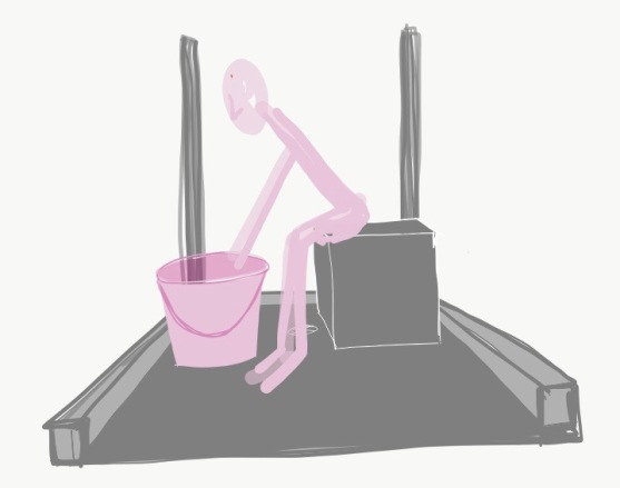 Quick sketch to emphasise the need for a seat in the bathing facilities for pregnant/elderly women. We saw scope for this being specially designed to ensure the shape provided optimum comfort for function.