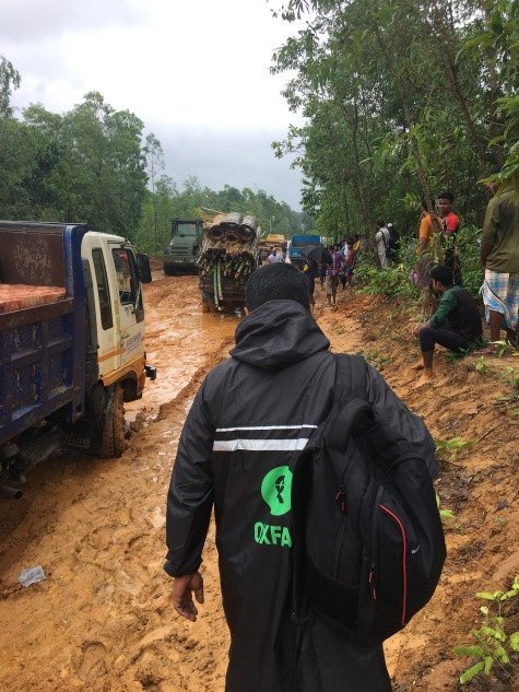 Entry into the camp was on foot due to the severe rains. Furthermore this road has been made by the Bangledeshi government for the Rohingya's and hasn't yet been completed.